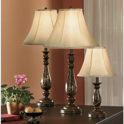 4-Piece Faux-Marble Covington Lamp Set