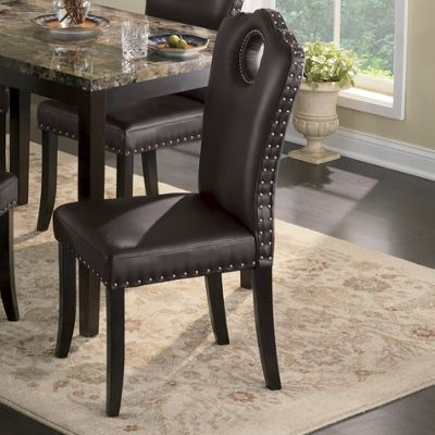 nailhead dining chairs dining room. Marble-Look Dining Table And Nailhead Chairs Room T