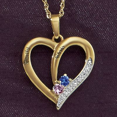 Couple's Birthstone Name Heart Pendant