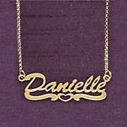 name open heart script necklace