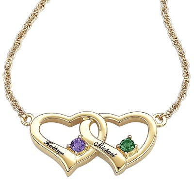 Couple's Birthstone Double-heart Pendant