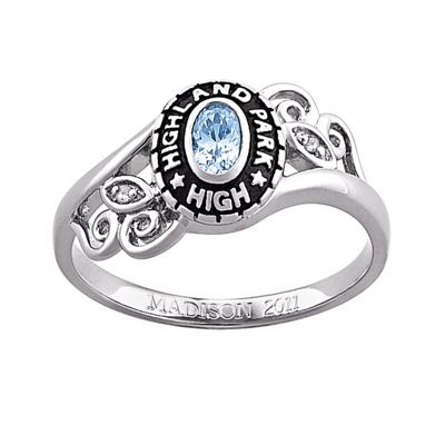 Women's Oval Birthstone Class Ring