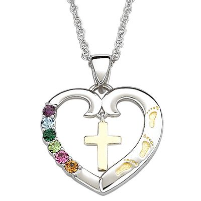 Famliy Birthstone Heart with Cross Pendant