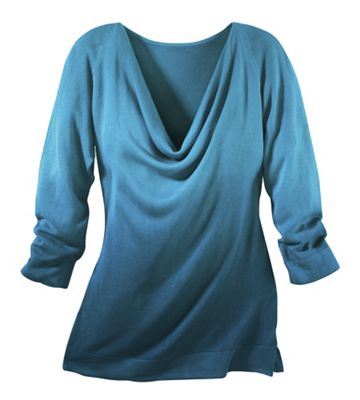 Drape-Neck Ombre Sweater