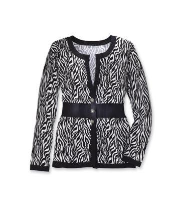Zebra-Striped Cardigan