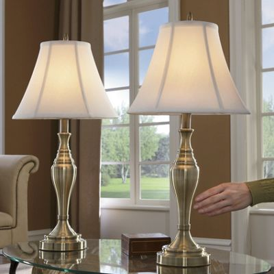 Set of 2 Satin Gold Touch Table Lamps