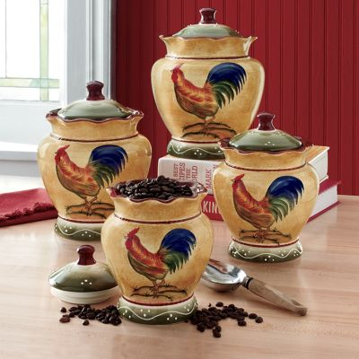 4 Piece Rooster Canister Set From Seventh Avenue D279580