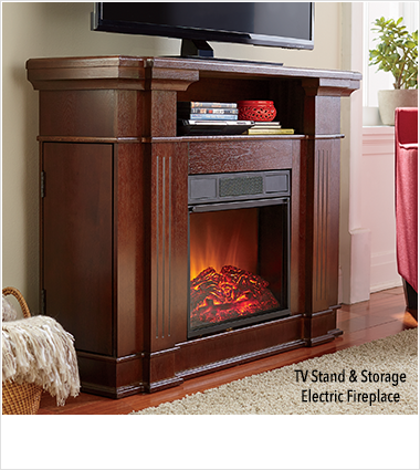 Warm Up by the Fire!, featuring TV stand & Storage Electric Fireplace