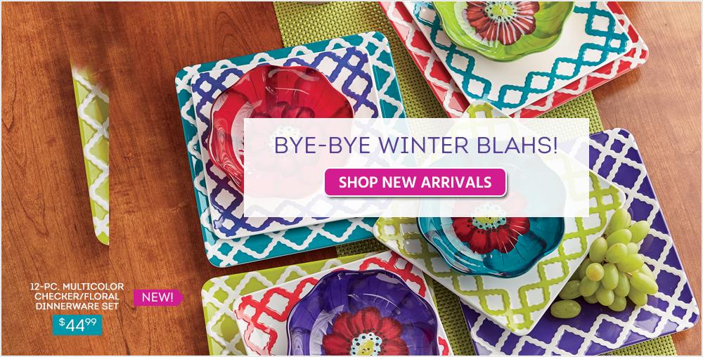 Shop New Arrivals, featuring 12-pc Multicolor checker/floral dinnerware set