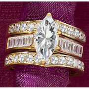 Marquise Square/Round Channel Bridal Set