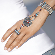 silvertone multicolored hand jewelry bracelet and ring
