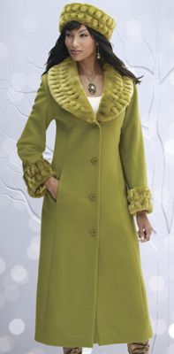 Faux Fur Collar Coat and Hat