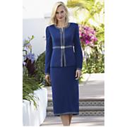 Rhinestone Trim Skirt Suit
