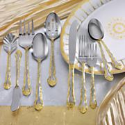 45-Piece Gold Accent Rose Cascade Flatware Set