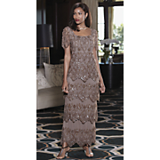 Mocha Medallion Tiered Gown