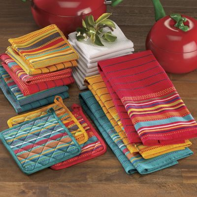 20 Piece Salsa Kitchen Towel Set From Seventh Avenue