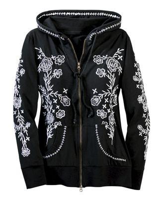 Embroidered Zip Hoodie