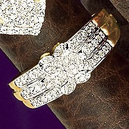 10K Gold Diamond Interlock Band