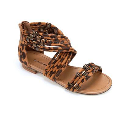 Leopard Ankle Wrap Sandal by Seventh Avenue