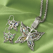 abalone shell butterfly pendant and earrings set