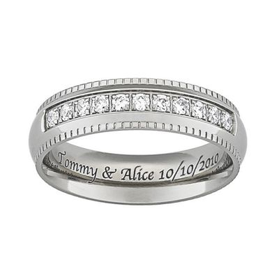Men's Titanium Band With Cubic Zirconia