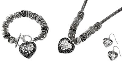 Heart Bracelet and Necklace/Earring Set