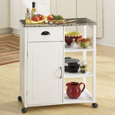 Marble-Look Kitchen Cart