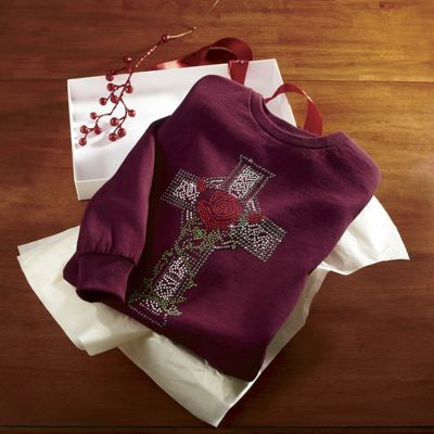 Rhinestone Cross and Rose Long-Sleeve Tee