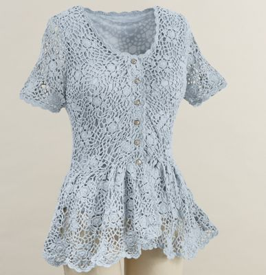 Camille Crochet Short-Sleeve Cardigan