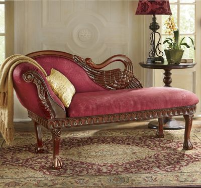 Hand-Carved Swan Chaise : swan chaise - Sectionals, Sofas & Couches