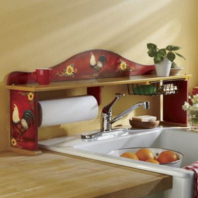 Lovely Red Rooster Sink Shelf