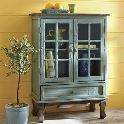 Hattiesburg Turquoise Distressed Cabinet