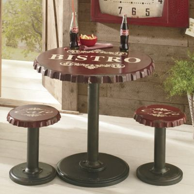 Bottle Cap Bistro Table and Stools