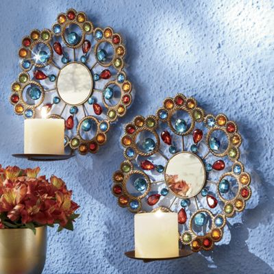 Jeweled Candle Wall Sconces : Set of 2 Jeweled Sconces from Country Door 705328