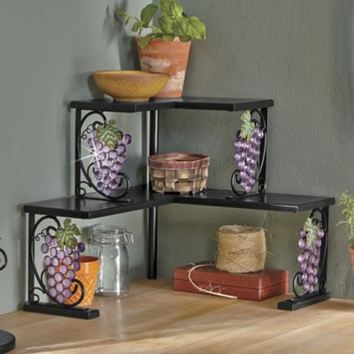 Grape beaded corner shelf from seventh avenue 705707 for Wine and grape themed kitchen ideas