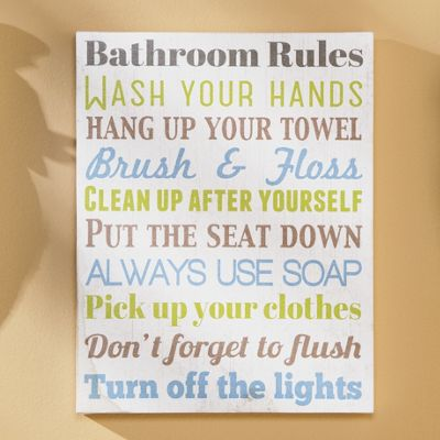 Elegant Bathroom Rules Wall Art