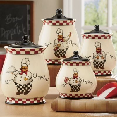 Bon appetit chef 4 piece canister set from country door for Kitchen decor collections