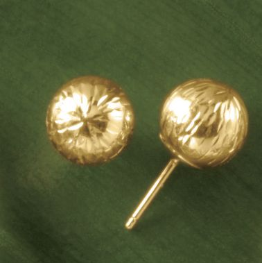 Gold Diamond-Cut Ball Post Earrings