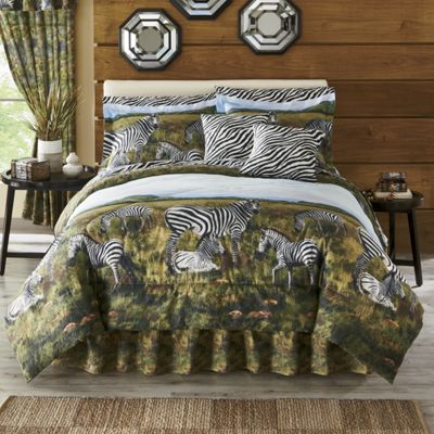 Zebra Kingdom Complete Bed Set, Pillow and Window Treatments