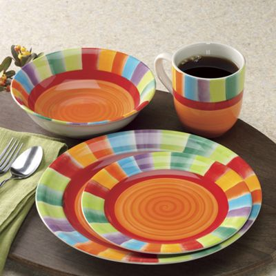 16-Piece Rainbow Stripe Dinnerware & 16-Piece Rainbow Stripe Dinnerware from Seventh Avenue | DH707031