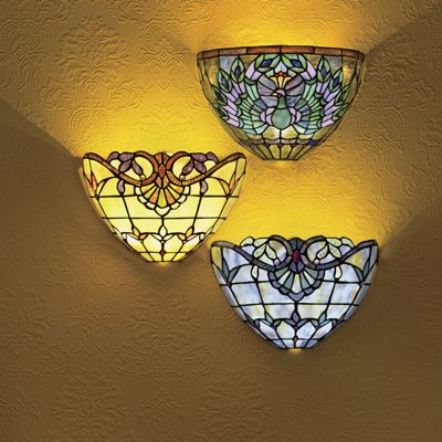 Exceptionnel Stained Glass Wireless Wall Sconce
