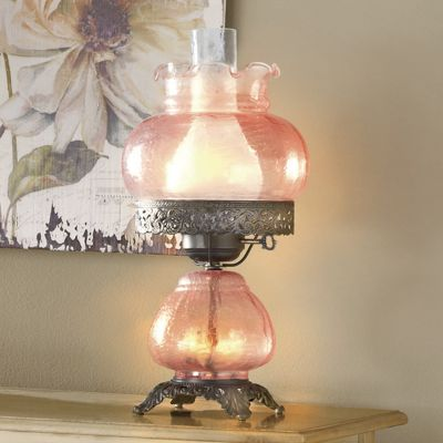 Blush hurricane lamp