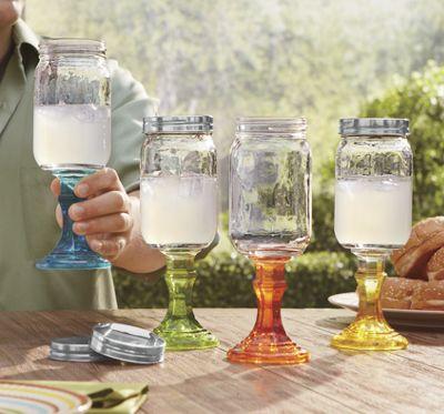 Set of 4 assorted mason jar stemmed glasses ginny 39 s - Stemmed mason jars ...