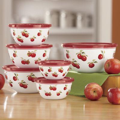 Harvest Apple 12-Piece Enamel On Steel Bowls