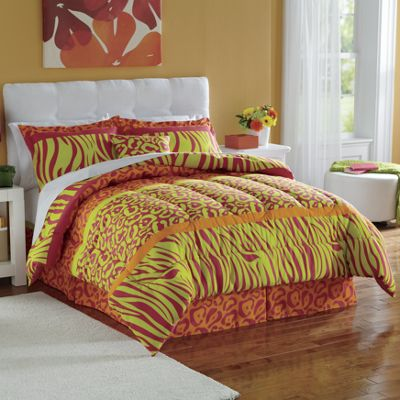 Neon Animal Print Comforter & Sham Set and Accessories