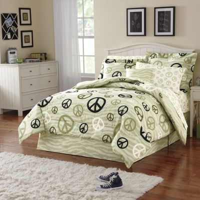 Pink Skulls, Peace On Zebra or Lodge Patch Complete Bed Set, Decorative Pillow and Window Treatments
