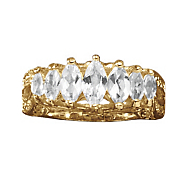 White Topaz Marquise Band Ring