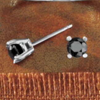 Black Diamond Solitaire Post Earrings