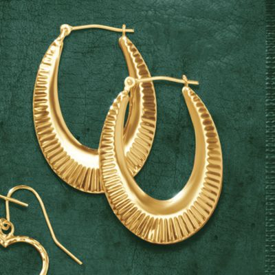 Gold Oblong Flat Rad-Lines Hoop Earrings