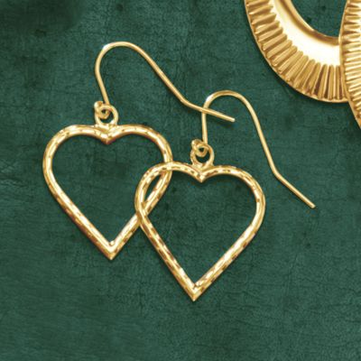 Gold Heart Diamond-Cut Wire Earrings